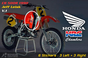 Grafiche 6 adesivi sponsor loghi HONDA CR 500 1990 500R hrc Jeff Leisk V1