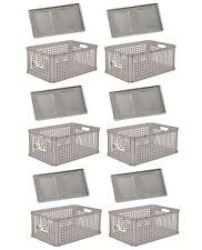 6 x Robusto-Boîte PANIER AVEC COUVERCLE 64 L Gris Boîte de conservation boîte