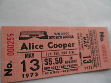 ALICE COOPER__1973__Original Unused CONCERT TICKET__San Diego__EX+