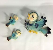 Vintage Lefton Blue Bird 2 Babies Rare Left Facing Wall Plaques Japan Marked