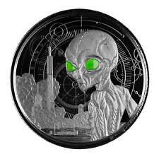 2021 Ghana Alien 1 oz Silver Proof Black Rhodium 500 Mint ~ MINT SOLD OUT