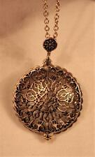 Vintage-Look Filigree Antiqued Gold Slider Locket Magnifying Glass Gold Necklace