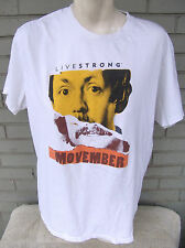 Livestrong Movember Size Large Mustache White T-Shirt