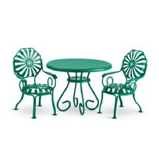 American Girl Kit TABLE & CHAIRS green metal, 2 chair