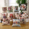Vintage Cotton Owl Linen Pillow Case Sofa Waist Throw Cushion Cover Home Decor