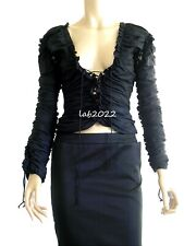 Yves Saint Laurent Tom Ford 2001 Laced Ruched Top & Skirt Runway Complete F38
