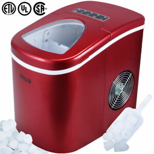 Portable Electric Ice Maker, High Capacity, Touch Button Display 2 Cube Sz, Red