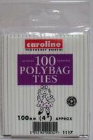"100 X POLYBAG TIES/WIRES 100MM(4"") FREEZER/FOOD BAGS Closures (100)"