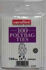 """100 x polybag ties/fils 100MM (4"""")/congélateur aliments sacs fermetures (100)"""
