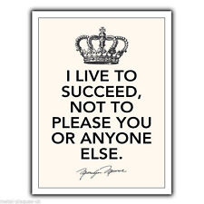 """METAL SIGN WALL PLAQUE """"I LIVE TO SUCCEED"""" Marilyn Monroe Quote art print poster"""