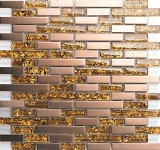 1 SQ M Amber Glass & Brushed Copper Effect Stainless Steel Mosaic Tiles 0169