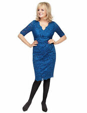 Twiggy for Ex M&S Collection Blue Floral Lace Pleated Dress With Secret Support