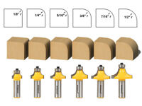 """6 Bit Round Over Edge Forming Router Bit Set - 1/2"""" Shank - Yonico 13622"""
