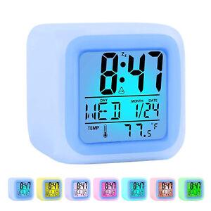 Kids Wake Up Alarm Clock Color Changing Digital Display Time LED Night Light AU