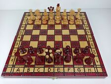 Beautifully Hand Made Wooden Chess Set In Folding Box Complete