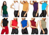 Ladies Women Sleeveless Plain Polo Turtle Neck Stretch Vest Bodycon T-Shirt Top