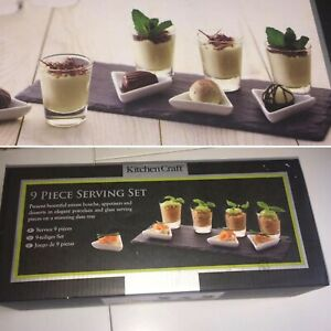 KITCHEN CRAFT Stylish Dessert / Appetiser Set On Slate Tray 9 Pieces NEW