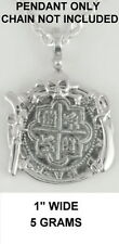 Atocha Pirate Spanish Coin Skull Pistol Sword Shipwreck Pendant Key West Silver