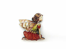 Flower Fairies Geranio De Hadas De Colores De Madera Broche Pin Pink/brown