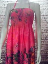 tropical peasant folksy long sun dress exotic floral print hot pink NEW 10 12