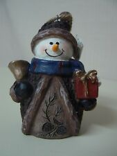 Ganz SNOWMAN WITH PRESENT AND BELL ORNAMENT Christmas Cold Scarf