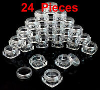 USA 24 Pieces 5 grams High Quality Square Sample Cosmetic Clear Jars Containers