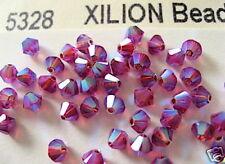 24 Fuchsia AB2X Swarovski Beads Bicone 5328 4mm