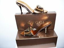 NWT $535.00 GUCCI ITALY WOMEN HEEL SLIDE OPEN TOE GOLD SANDALS 6.5(G 36,5)