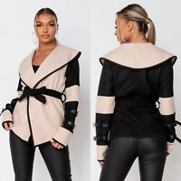 Women's Shawl Collar Long Sleeve Wrap Belted Coat Jacket Overcoat Outerwear