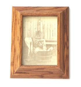 Vintage R. Hendrickson Sepia Print, Bearded Man Bathing in Tub, Wood Frame