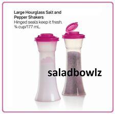 TUPPERWARE LARGE HOURGLASS SALT & PEPPER SHAKERS in FUCHSIA KISS Pink! fREEsHIP!