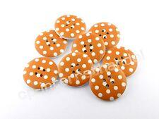 8 HOLZKNÖPFE - Kinderknöpfe - Weiße Punkte auf Orange - Ø 25mm - B-Ware