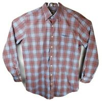 Peter Millar Mens Large Plaid Long Sleeve Button Down Shirt Pink Blue Red Cotton
