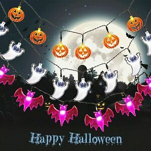 3 Stück LED Halloween Kürbis Lichterkette Beleuchtung Hängend Lichter Dekoration