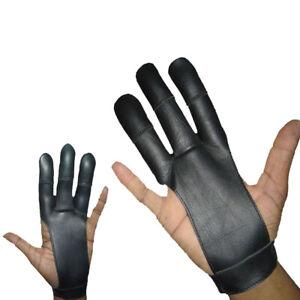 Archers Leather 3 Finger Right & Left Hand Glove,Hunting glove,BLACK,BROWN,BEIGE
