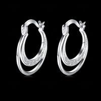 925 Sterling Silver Tarnish-Resist 20mm Double Hoop Crystal Huggie Earrings E4Y