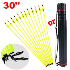 "12Pcs Archery Carbon Hunting Arrows 30"" SP500 For Compound/Recurve Bow or Quiver"