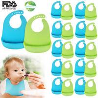 Waterproof Soft Baby Bib 100% food-graded Silicone Feeding Bibs Adjustable