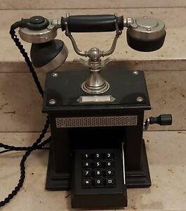 Nostalgie Kurbeltelefon mit ausfahrbarer Tastatur, TAE Stecker und Anleitung