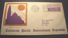 Old Cover Dated 1935 Official Cachet California Exposition  L93