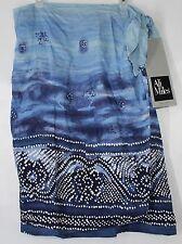 NWT Ali Miles Women's M Water Blues Knee Long Hawaiian Beach Wrap Look Skirt