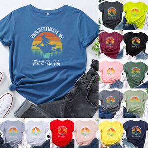 Womens Loose Blouse Witch Halloween Ladies Tee T Shirt Sweatshirt Printed Tops