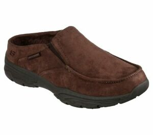 Skechers Mens Slippers Comfy Relaxed Fit Slip On Faux Fur Memory Foam Shoes
