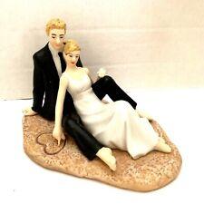 Romantic Couple Lounging on the Beach Wedding Cake Topper Porcelain WeddingStar