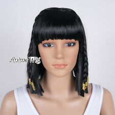 Fashion Egypt Queen Braided Black Short Bob Women Costume Cosplay Party Wig