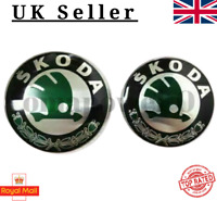 🇬🇧 Skoda Boot Bonnet Front Back Emblem Badge Symbol Logo 90mm 80mm set