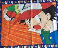 Vintage Pokemon Ash Fabric Panel Cotton Blend Sheeting TM Sew Craft