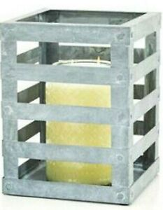 Gold Canyon Striped Lantern Metal Candle Display Holder New in Box