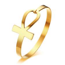 New Gold Women Egypt Ankh Cross Bracelet Bangle Cuff Key Of Life Stainless Steel