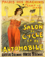 POSTER EIFFEL TOWER BICYCLE AUTOMOBILE EXPOSITION PARIS VINTAGE REPRO FREE SH